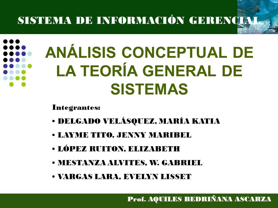 ANÁLISIS CONCEPTUAL DE LA TEORÍA GENERAL DE SISTEMAS