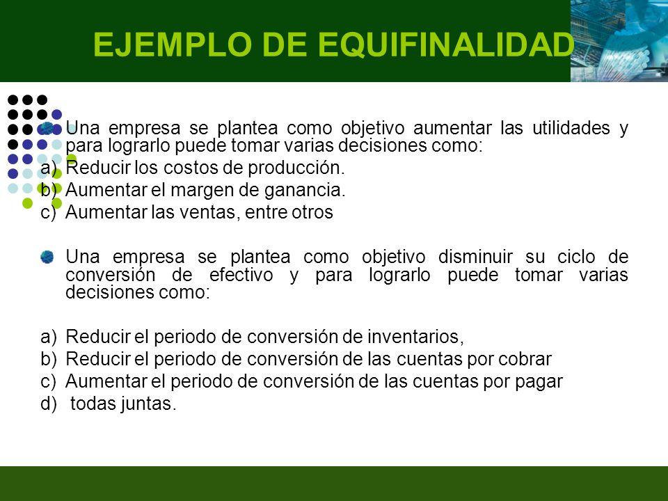 EJEMPLO DE EQUIFINALIDAD