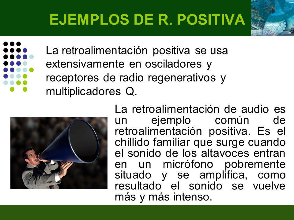 EJEMPLOS DE R. POSITIVA La retroalimentación positiva se usa