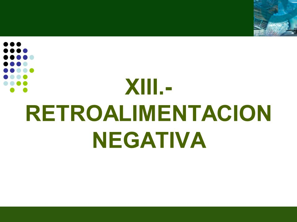 XIII.-RETROALIMENTACION NEGATIVA