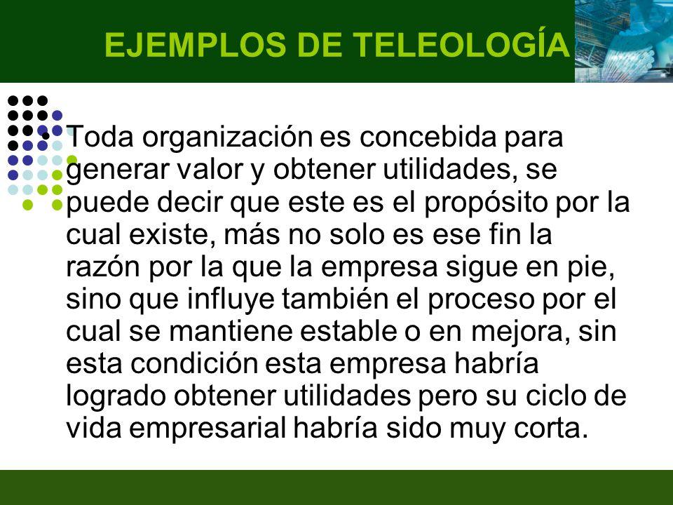 EJEMPLOS DE TELEOLOGÍA