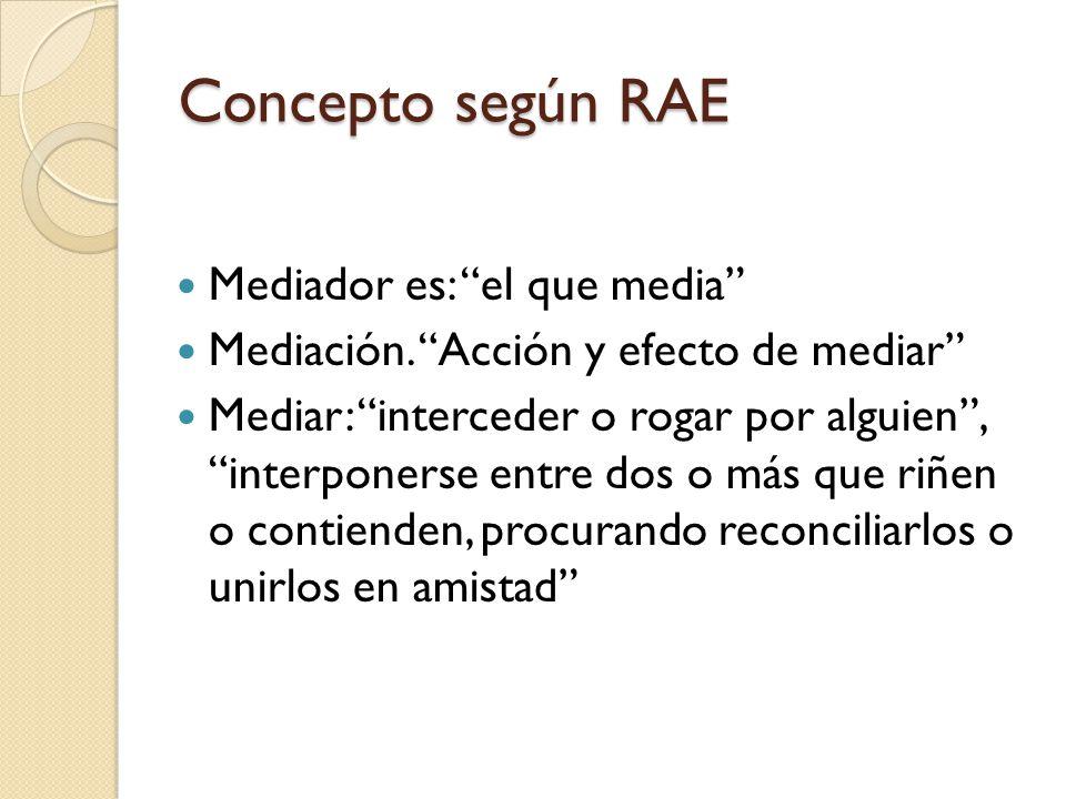 Concepto según RAE Mediador es: el que media