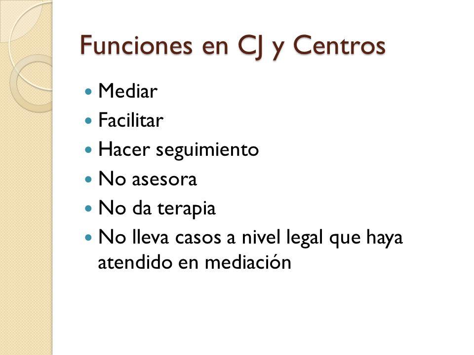 Funciones en CJ y Centros