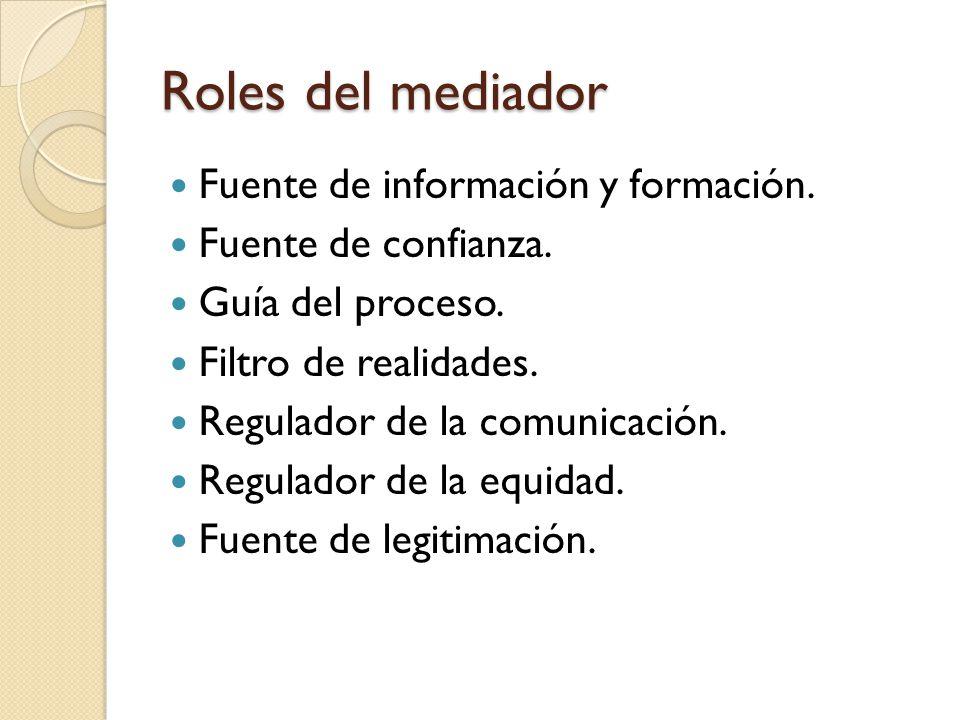 Roles del mediador Fuente de información y formación.