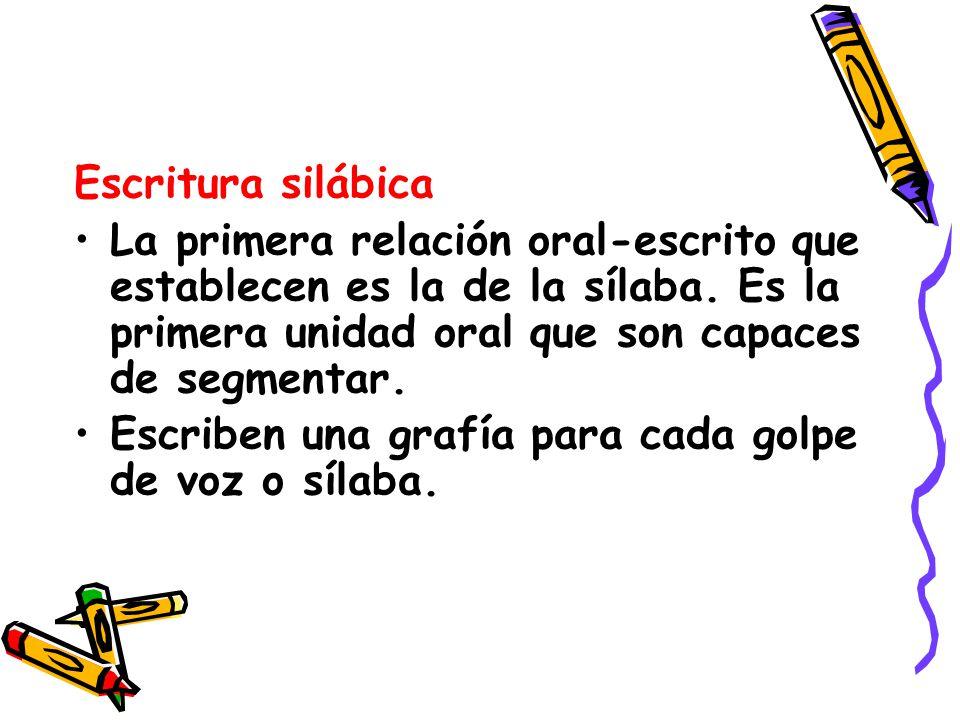Escritura silábica La primera relación oral-escrito que establecen es la de la sílaba. Es la primera unidad oral que son capaces de segmentar.