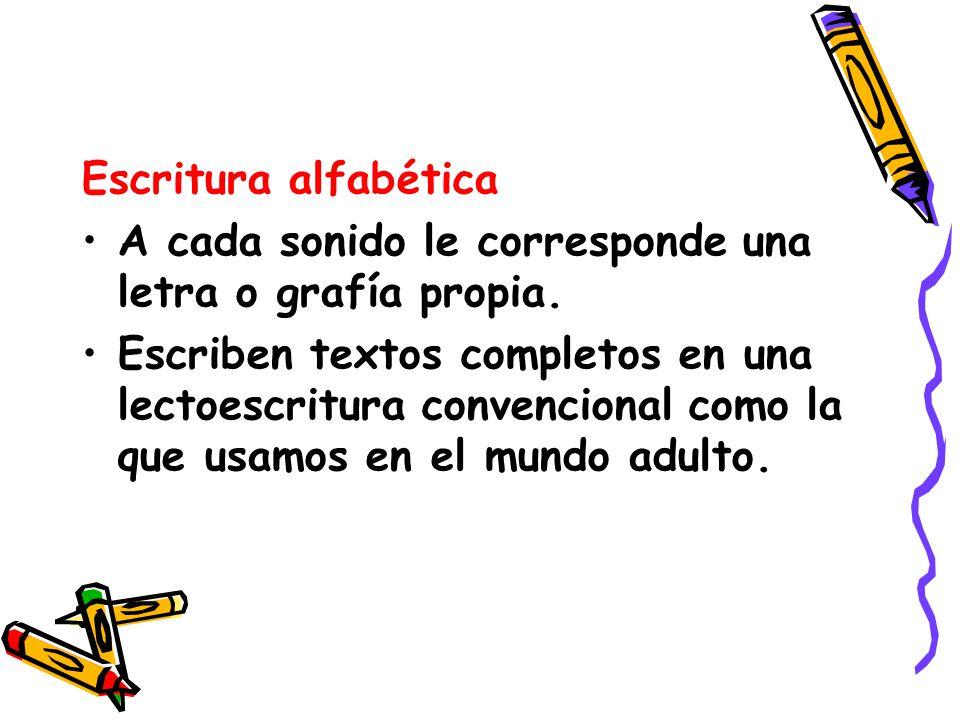 Escritura alfabética A cada sonido le corresponde una letra o grafía propia.