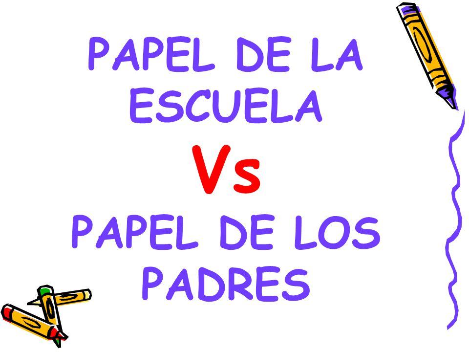 PAPEL DE LA ESCUELA Vs PAPEL DE LOS PADRES