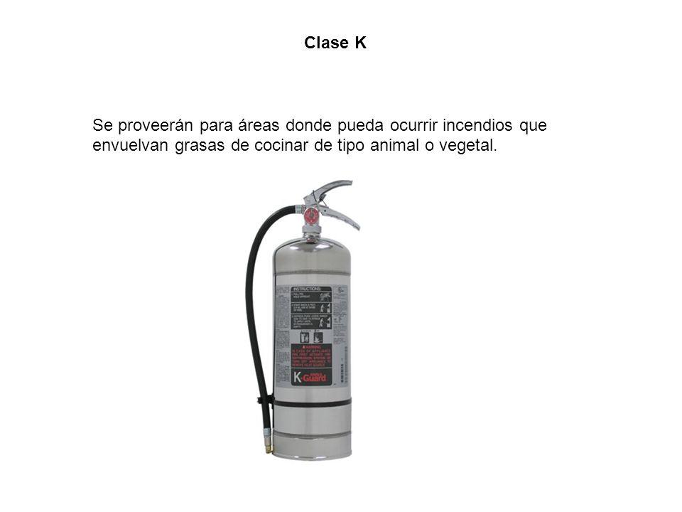 Clase K Se proveerán para áreas donde pueda ocurrir incendios que.