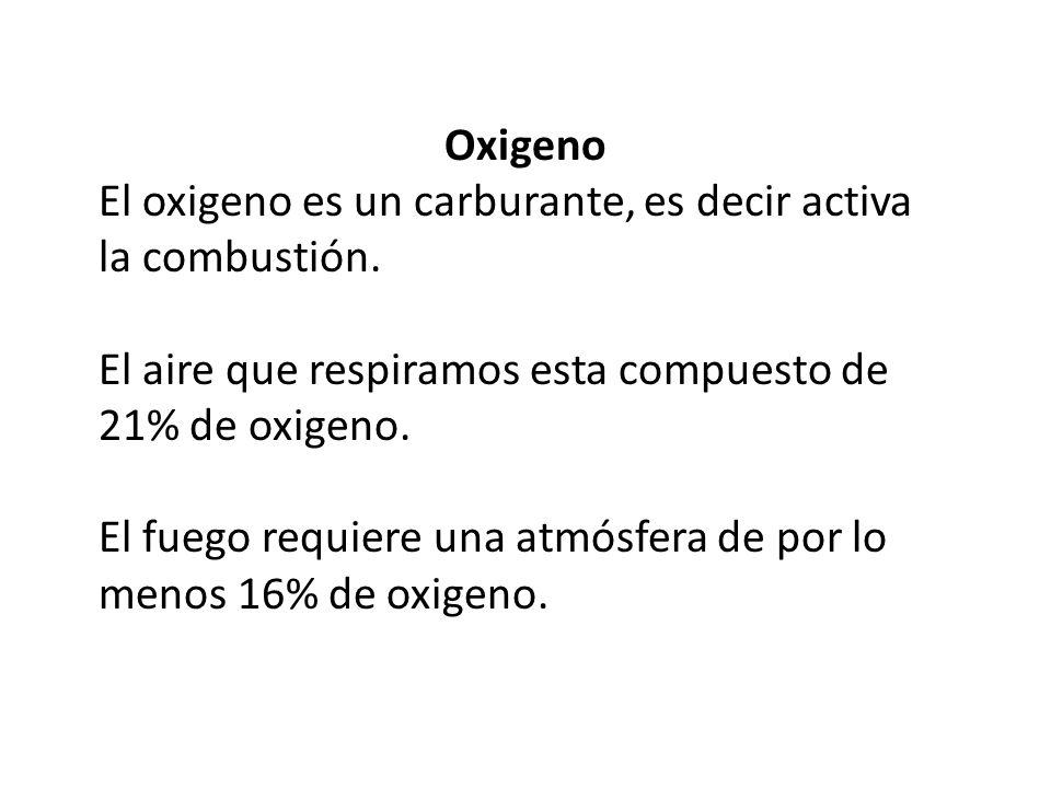 Oxigeno El oxigeno es un carburante, es decir activa la combustión. El aire que respiramos esta compuesto de 21% de oxigeno.