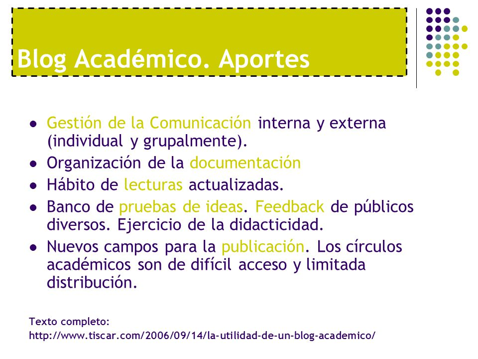 Blog Académico. Aportes