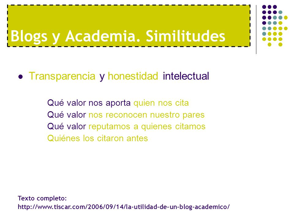Blogs y Academia. Similitudes