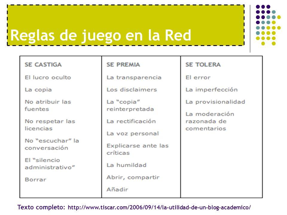Reglas de juego en la Red