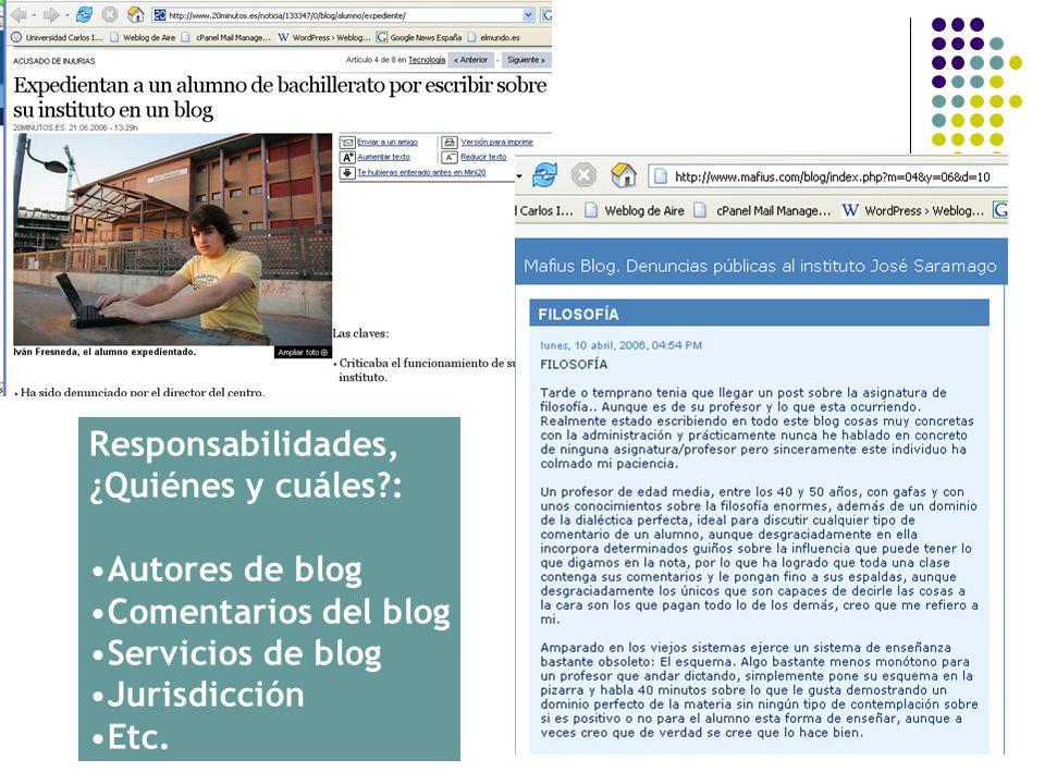 Responsabilidades, ¿Quiénes y cuáles : Autores de blog. Comentarios del blog. Servicios de blog.