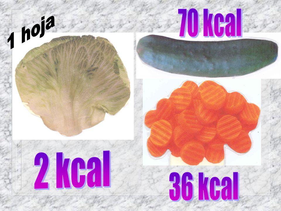 70 kcal 1 hoja 2 kcal 36 kcal