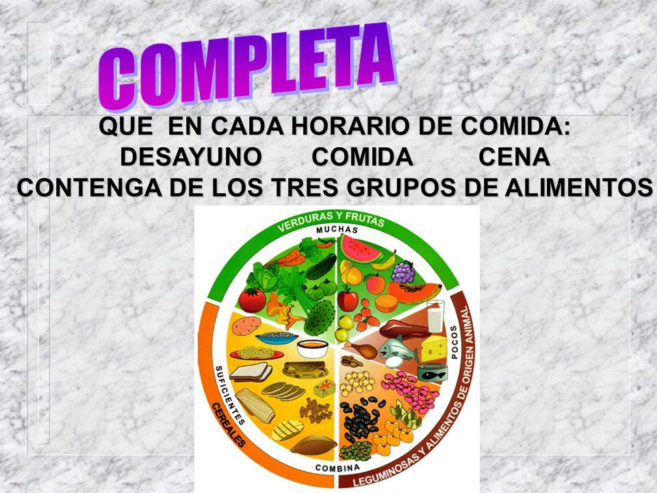 COMPLETA QUE EN CADA HORARIO DE COMIDA: DESAYUNO COMIDA CENA