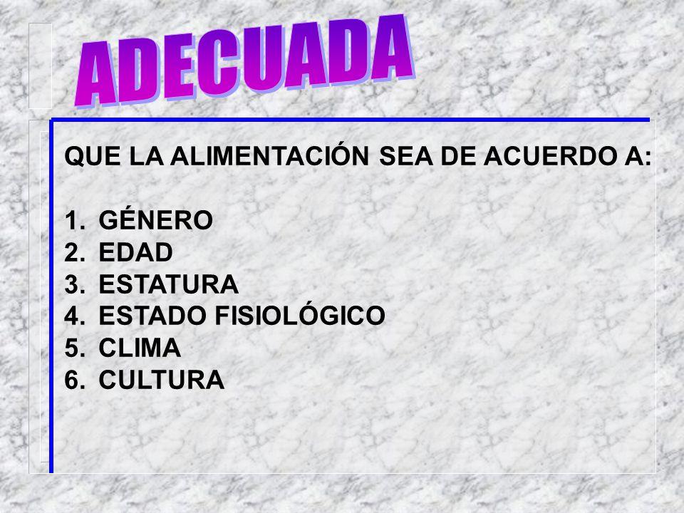 ADECUADA QUE LA ALIMENTACIÓN SEA DE ACUERDO A: GÉNERO EDAD ESTATURA