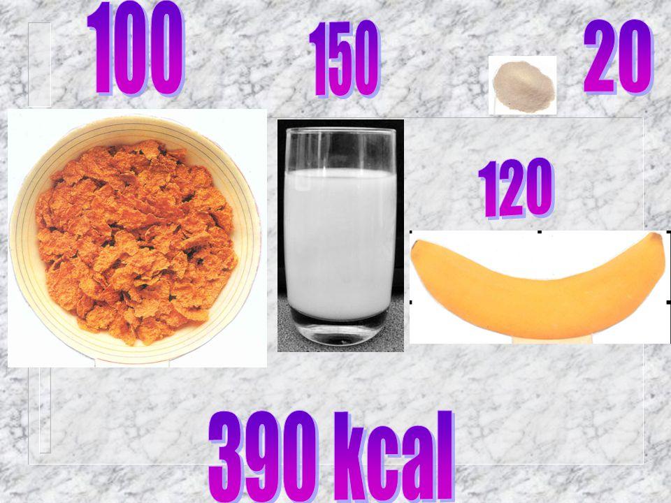 100 150 20 120 390 kcal