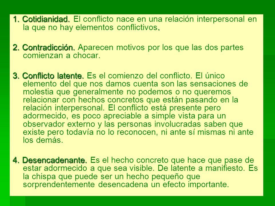 1. Cotidianidad. El conflicto nace en una relación interpersonal en la que no hay elementos conflictivos.