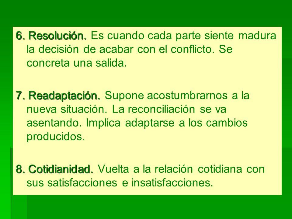 6. Resolución. Es cuando cada parte siente madura la decisión de acabar con el conflicto. Se concreta una salida.