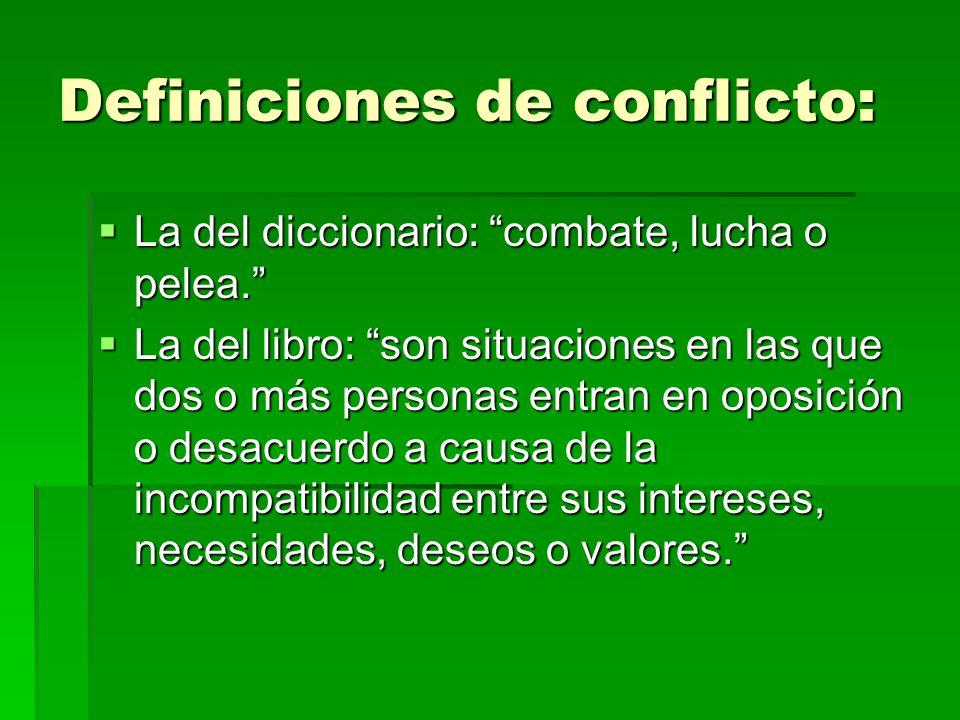 Definiciones de conflicto: