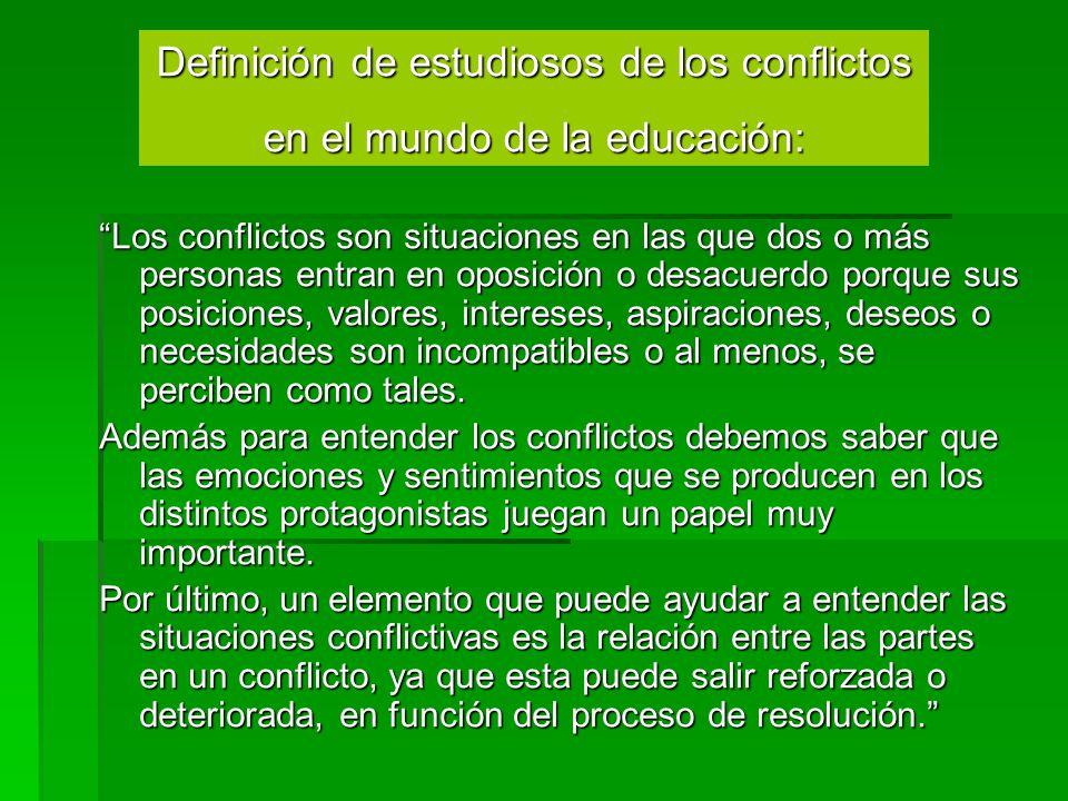 Definición de estudiosos de los conflictos