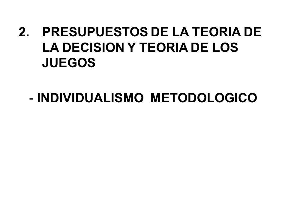 PRESUPUESTOS DE LA TEORIA DE LA DECISION Y TEORIA DE LOS JUEGOS