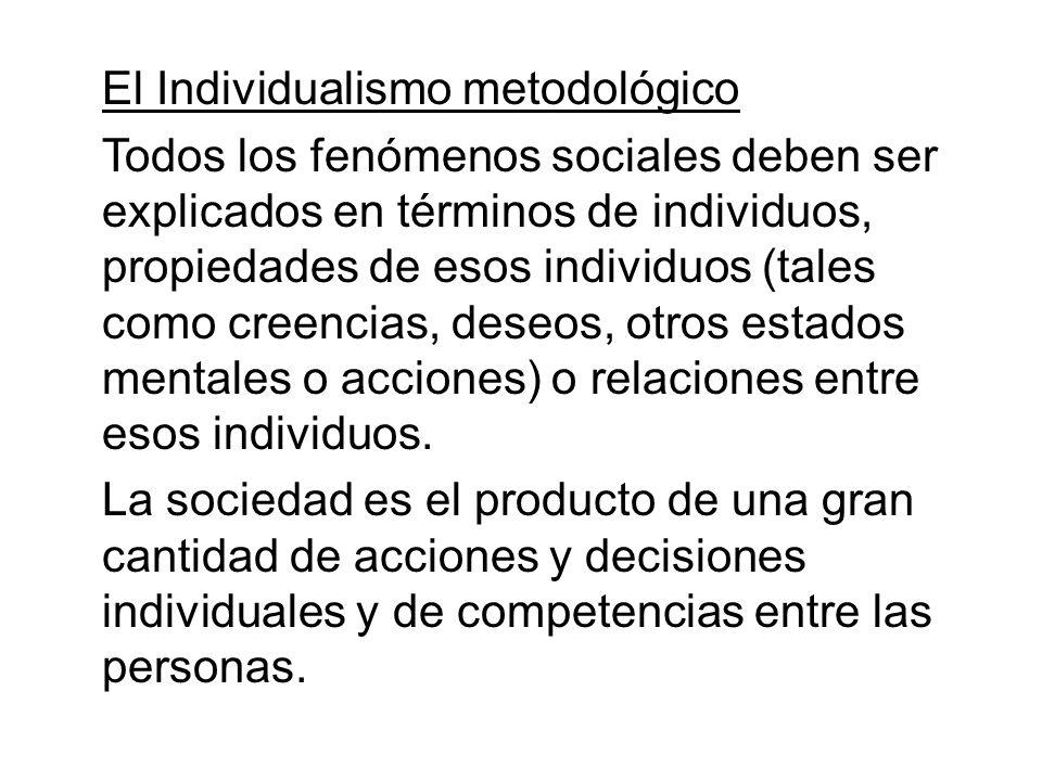 El Individualismo metodológico Todos los fenómenos sociales deben ser explicados en términos de individuos, propiedades de esos individuos (tales como creencias, deseos, otros estados mentales o acciones) o relaciones entre esos individuos.