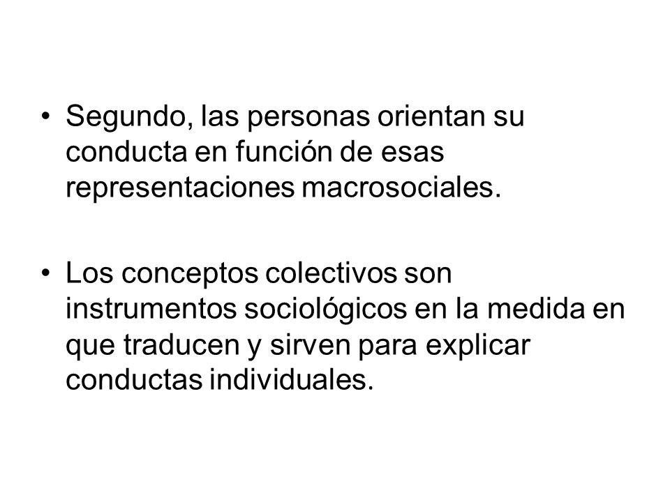 Segundo, las personas orientan su conducta en función de esas representaciones macrosociales.