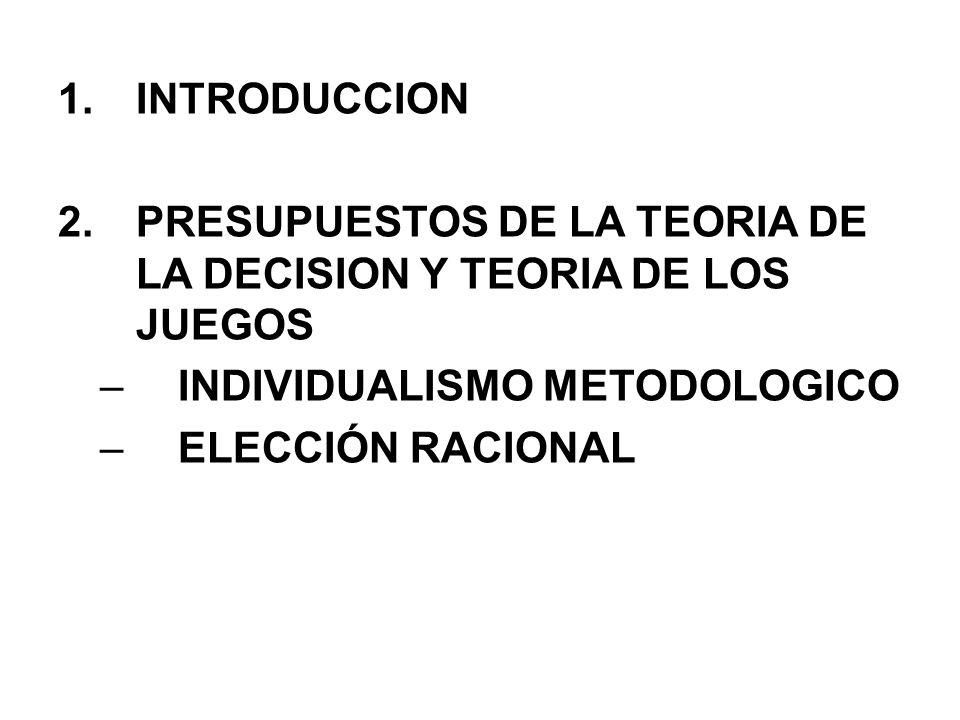 INTRODUCCION PRESUPUESTOS DE LA TEORIA DE LA DECISION Y TEORIA DE LOS JUEGOS. INDIVIDUALISMO METODOLOGICO.