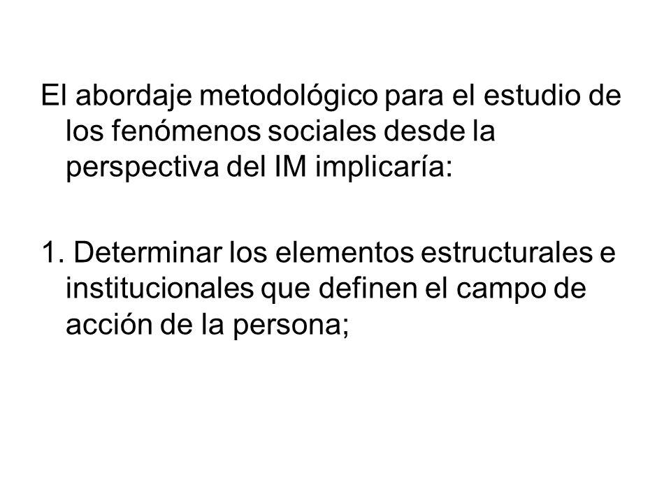 El abordaje metodológico para el estudio de los fenómenos sociales desde la perspectiva del IM implicaría: