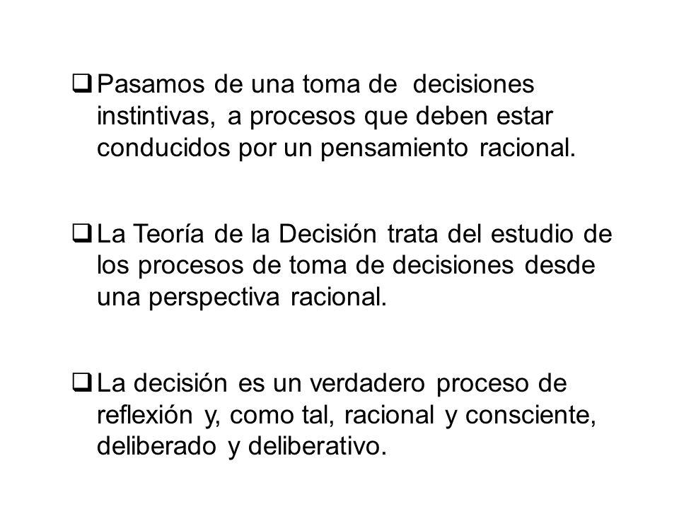 Pasamos de una toma de decisiones instintivas, a procesos que deben estar conducidos por un pensamiento racional.