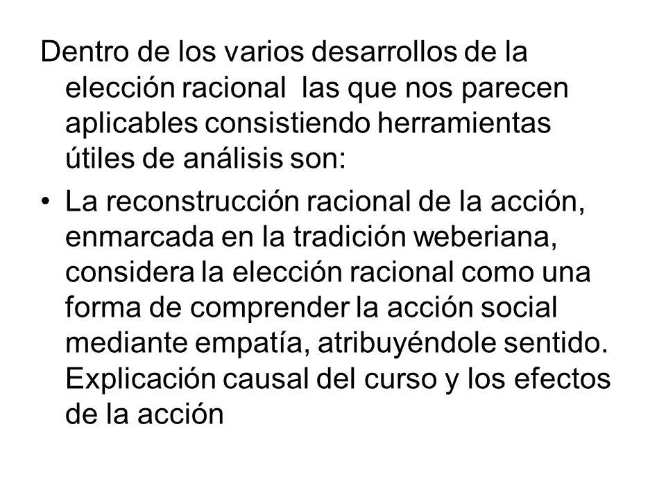 Dentro de los varios desarrollos de la elección racional las que nos parecen aplicables consistiendo herramientas útiles de análisis son: