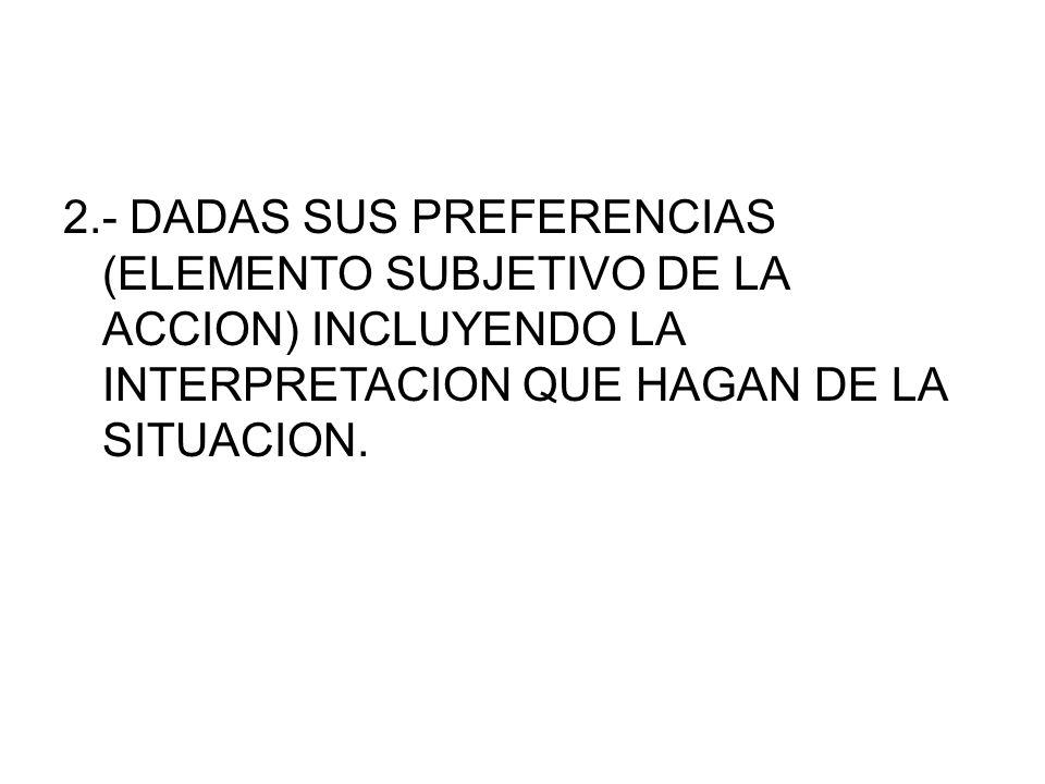 2.- DADAS SUS PREFERENCIAS (ELEMENTO SUBJETIVO DE LA ACCION) INCLUYENDO LA INTERPRETACION QUE HAGAN DE LA SITUACION.