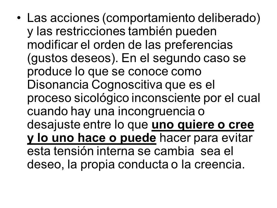 Las acciones (comportamiento deliberado) y las restricciones también pueden modificar el orden de las preferencias (gustos deseos).