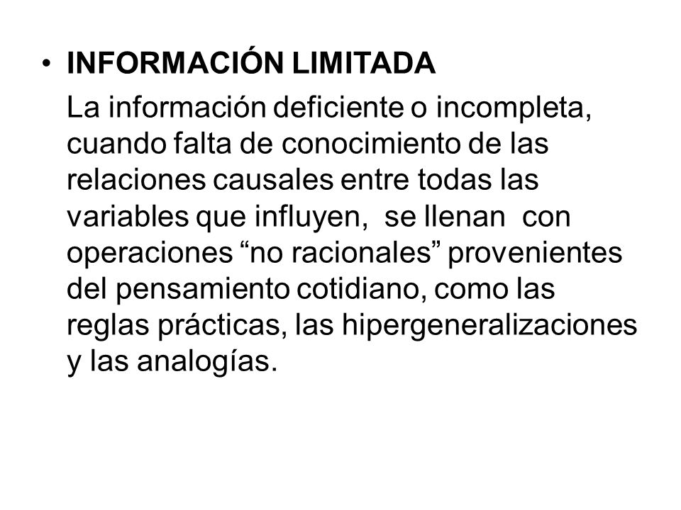 INFORMACIÓN LIMITADA