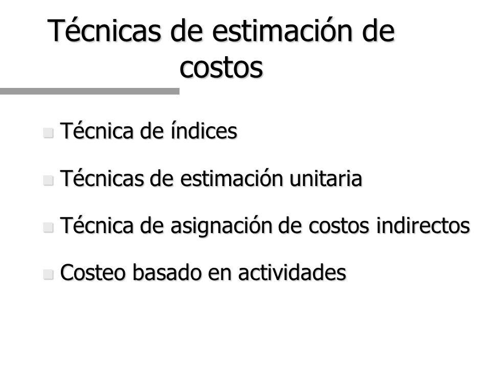 Técnicas de estimación de costos
