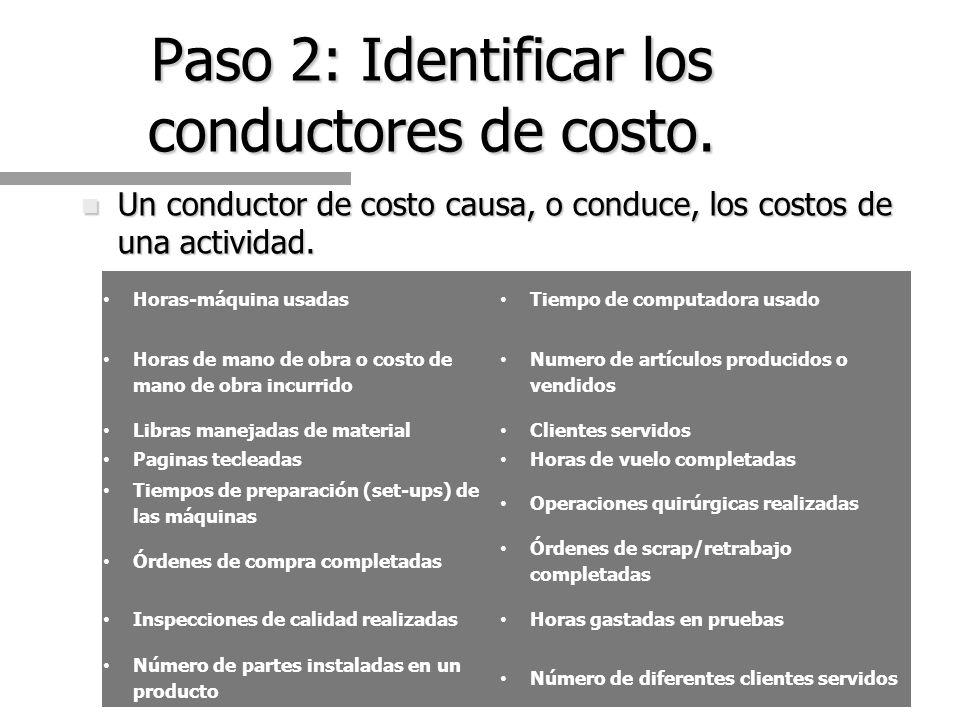 Paso 2: Identificar los conductores de costo.