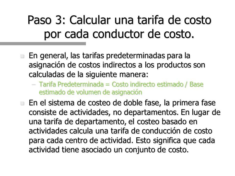 Paso 3: Calcular una tarifa de costo por cada conductor de costo.