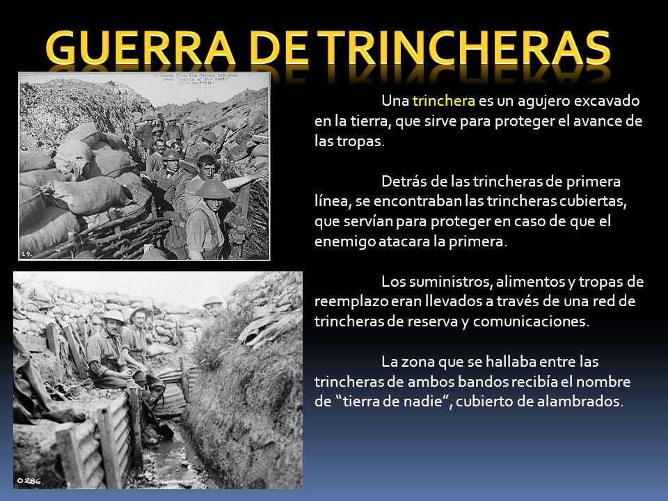 GUERRA DE TRINCHERAS Una trinchera es un agujero excavado en la tierra, que sirve para proteger el avance de las tropas.