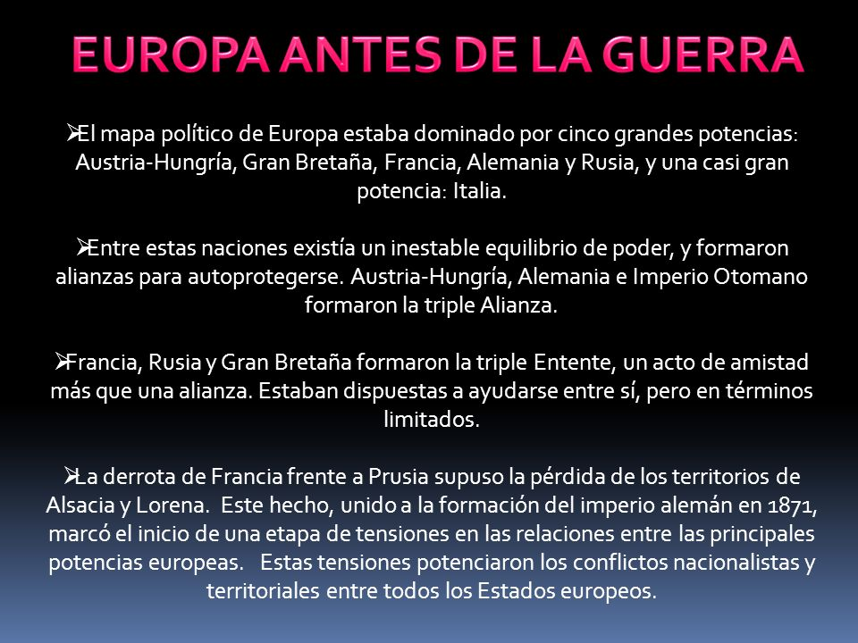 EUROPA ANTES DE LA GUERRA