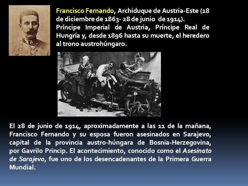 Francisco Fernando, Archiduque de Austria-Este (18 de diciembre de 1863- 28 de junio de 1914).