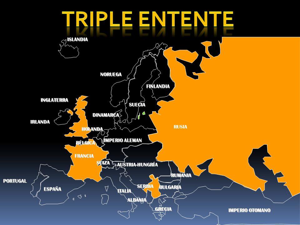 TRIPLE ENTENTE ISLANDIA NORUEGA FINLANDIA INGLATERRA SUECIA DINAMARCA