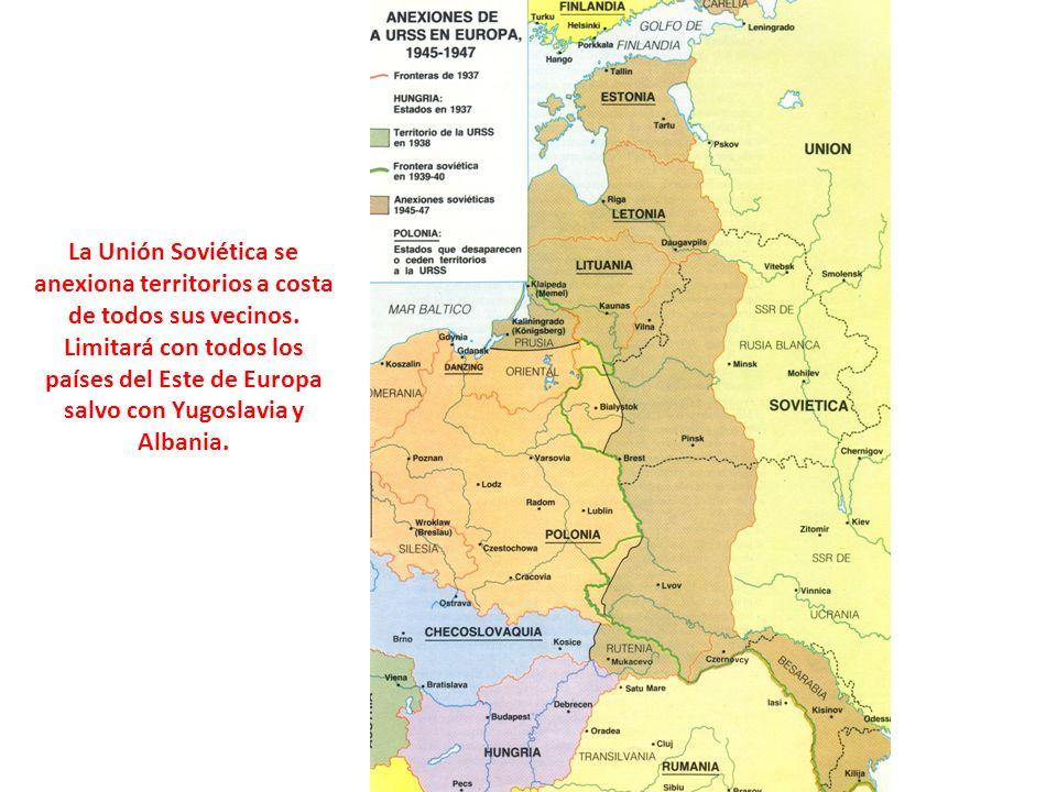 La Unión Soviética se anexiona territorios a costa de todos sus vecinos.