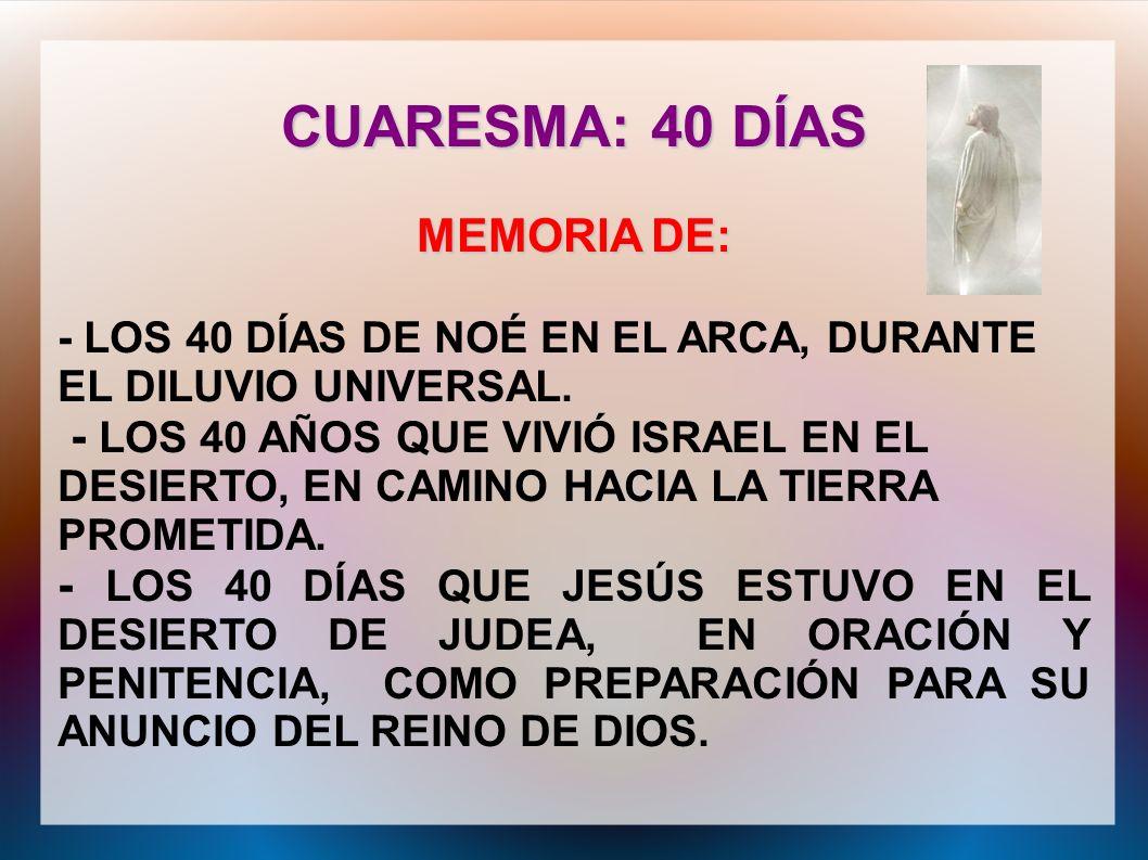CUARESMA: 40 DÍAS MEMORIA DE: