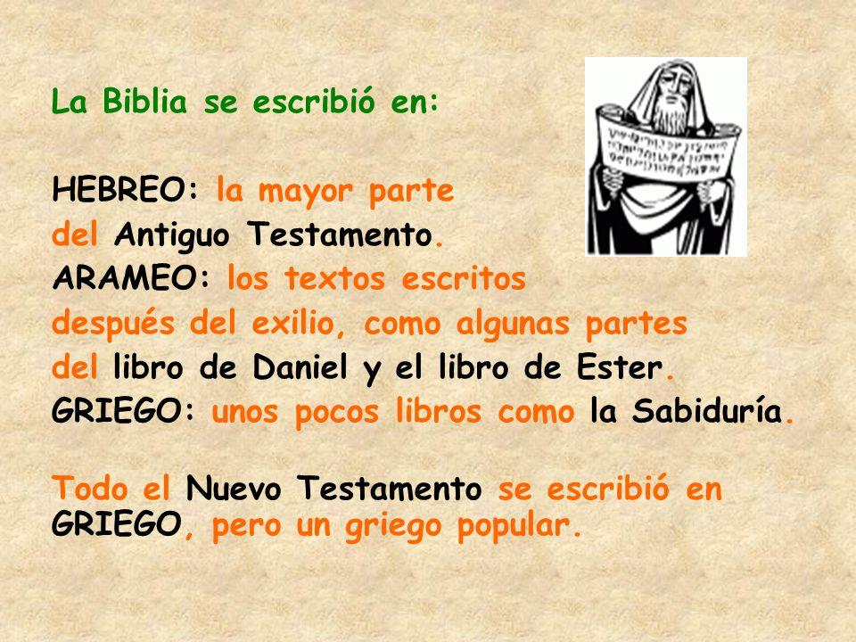 La Biblia se escribió en:
