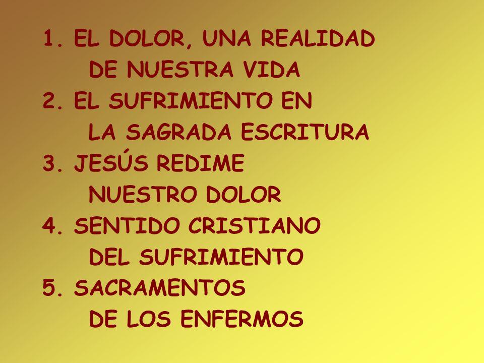 1. EL DOLOR, UNA REALIDAD DE NUESTRA VIDA. 2. EL SUFRIMIENTO EN. LA SAGRADA ESCRITURA. 3. JESÚS REDIME.