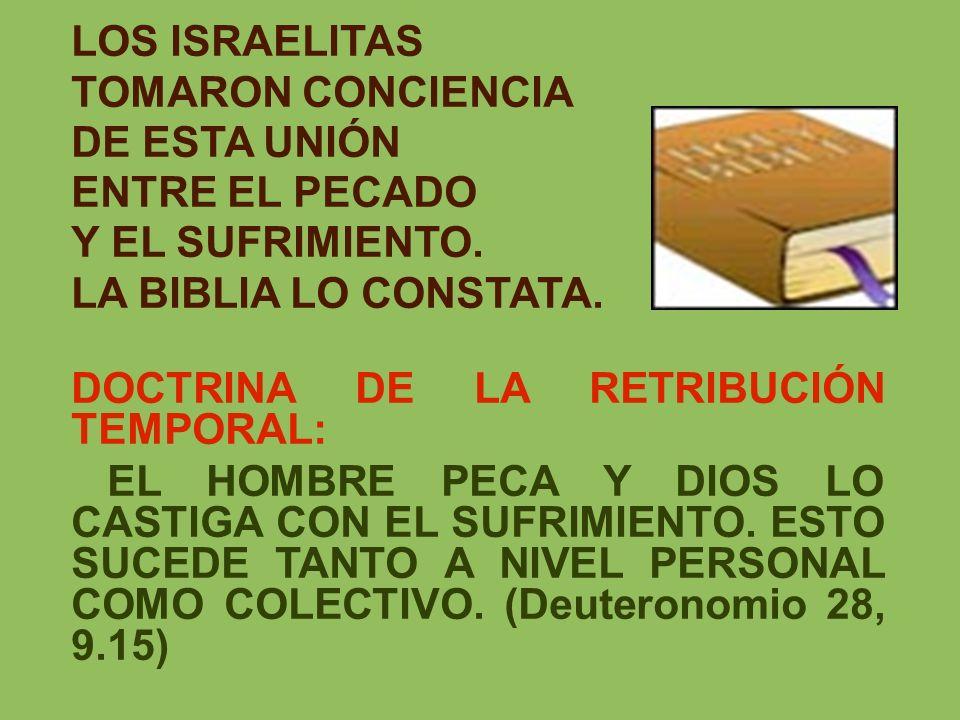 LOS ISRAELITASTOMARON CONCIENCIA. DE ESTA UNIÓN. ENTRE EL PECADO. Y EL SUFRIMIENTO. LA BIBLIA LO CONSTATA.