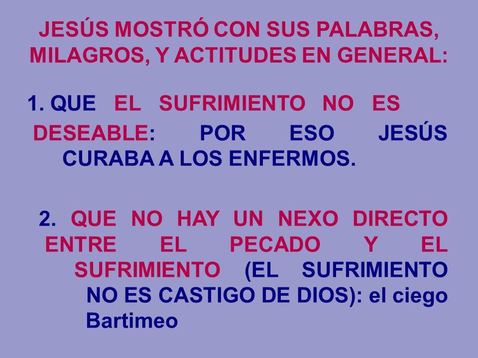 JESÚS MOSTRÓ CON SUS PALABRAS, MILAGROS, Y ACTITUDES EN GENERAL: