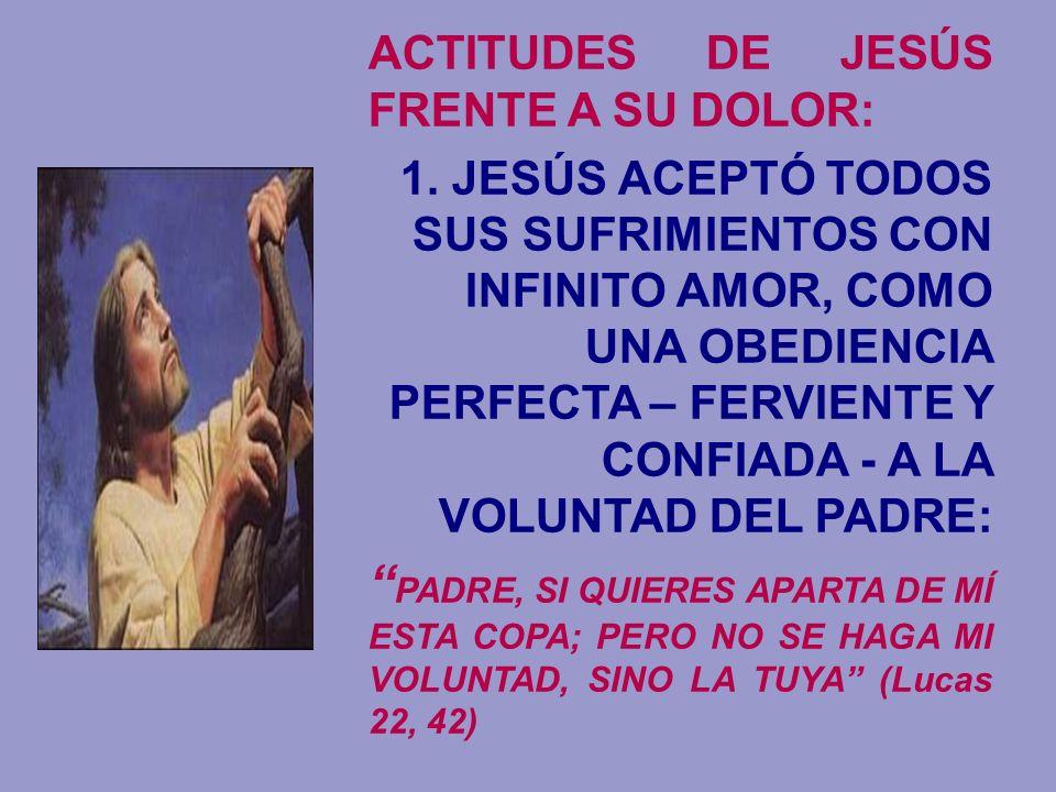 ACTITUDES DE JESÚS FRENTE A SU DOLOR: