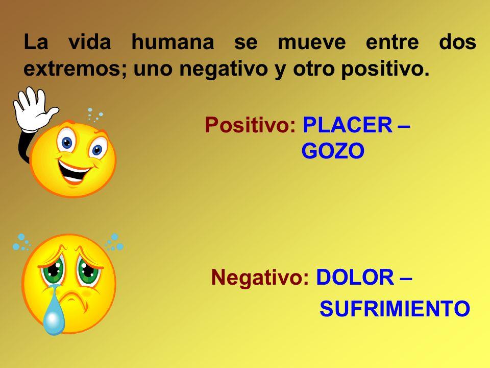 La vida humana se mueve entre dos extremos; uno negativo y otro positivo.